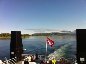 Even the ferry crossings are spectacular in this part of Norway. This is from Brensholmen to Botnhamn.