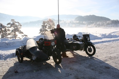 Tor on his Guzzi and me on my Ural en route to Krystall 2006. Wow, time flies...