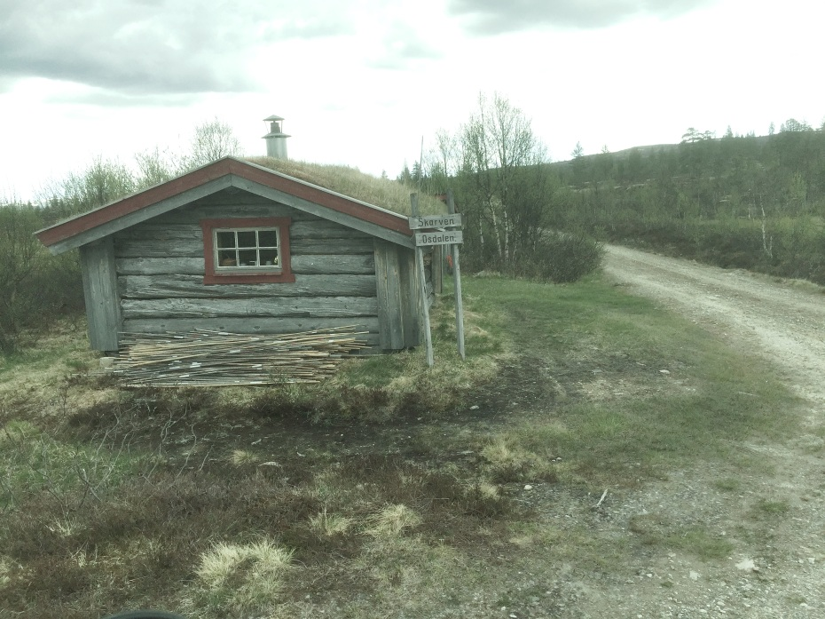 An old cabin at a crossing in the Osendalen, Hedmark county, Southern Norway.