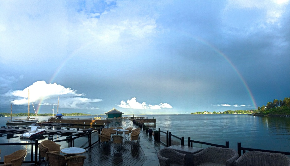 A rainbow appears over the Oslo fjord, captured from a seashore hotel near Asker, Akershus county, Southern Norway. Photo: Ridenorway.com