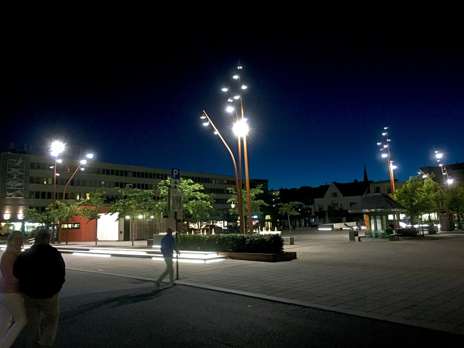 Sandefjord town center by night. Sandefjord, Vestfold county, Southern Norway. Photo: ridenorway.com