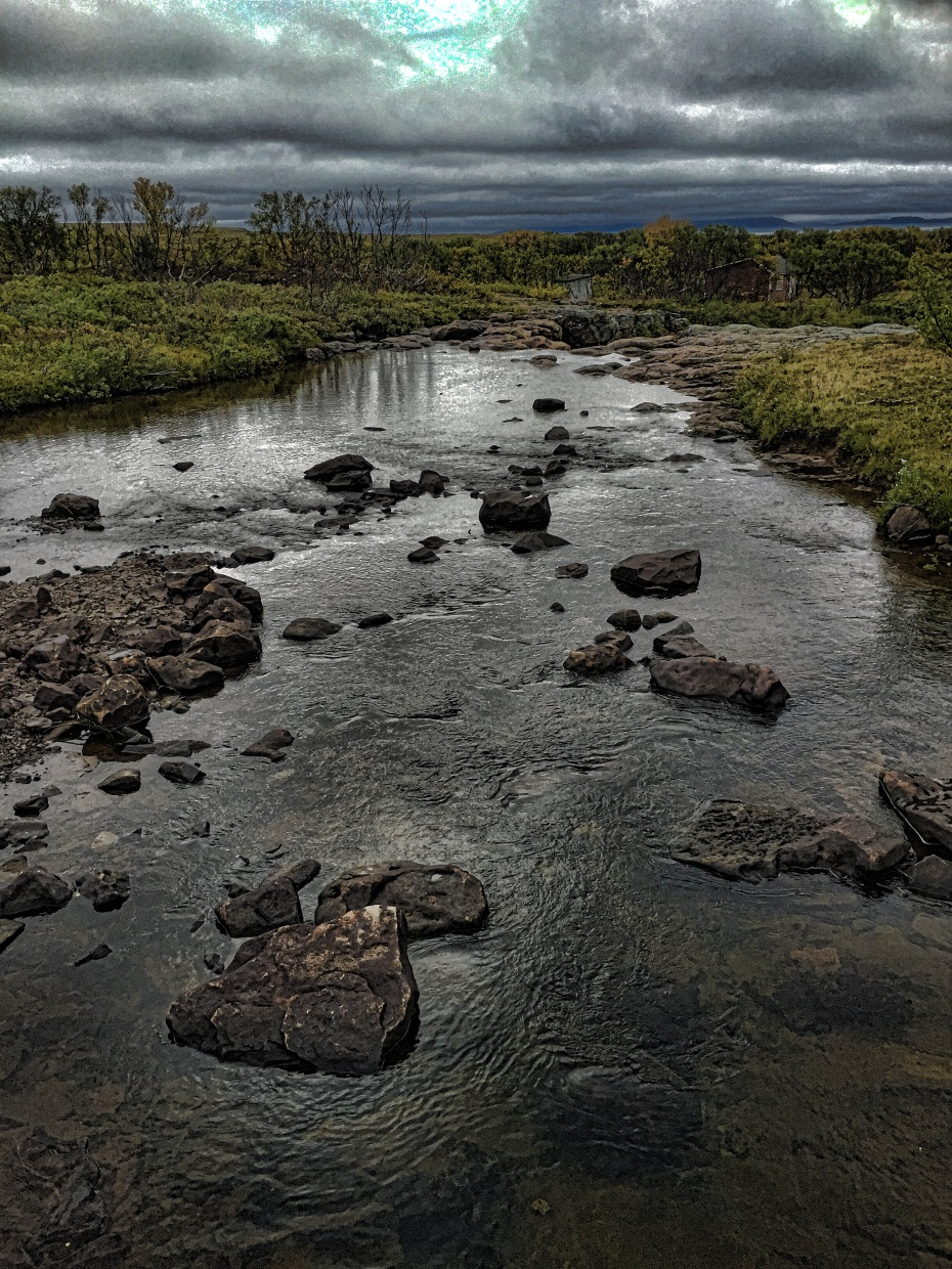 The river of Sjåbuselva in Vadsø, Finnmark county, Northern Norway.
