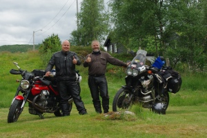 Jon (right) with his XRV 750 Honda Africa Twin, and me with my Moto Guzzi 850 Griso.