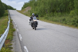 Jon on his Triumph on our way to Vadsø.