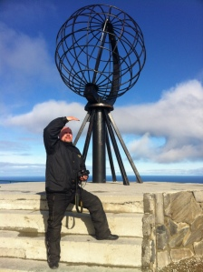Me at the North Cape globe, ca 8:00 in the morning. This kind of weather is unusual, though. Be prepared for worse.