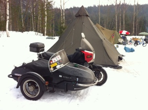 I prefer my sidecar rig for long haul in the winter, as I can get more gear with me.