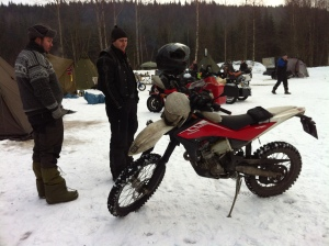 Enduro-like bikes like this is popular for two wheeled winter riding.