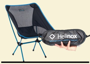 The incredibly light and small-packed Helinox chair. And it actually works!
