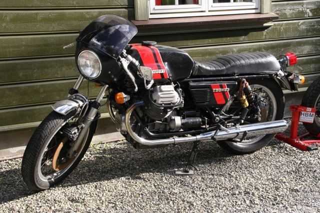 The Guzzi S3 is a rare sight. One of the few around was here.
