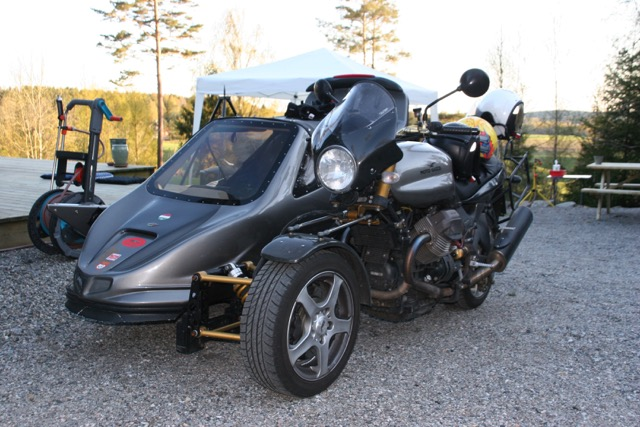 This sweet sidecar rig, a Guzzi V11 and Mobec sidecar, is owned by Lars and is the envy of many Norwegian Guzzisti.