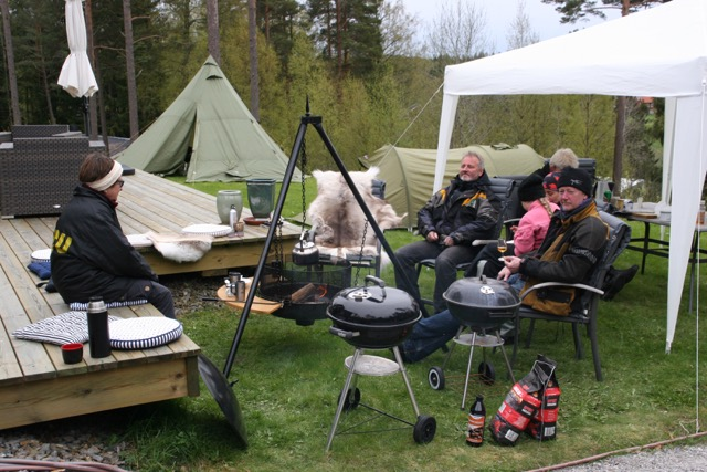 We camped on the lawn and had a barbeque just outside Berit and Tor's house.