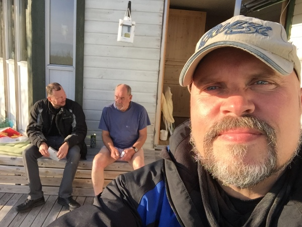 Yours truly, Arne and my brother-in-law Fritjof awaiting for the sauna to get warm enough. Vadsø in Finnmark has the highest density of saunas in Norway - or so they claim.