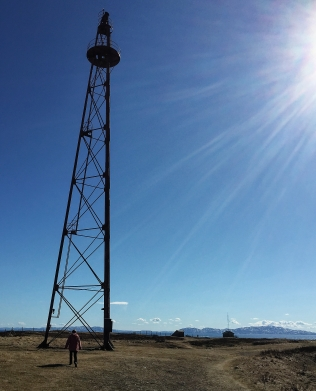 "The airship mast used by explorer Roald Amundsen on his way to the North Pole in his airship ""Norge N1"""