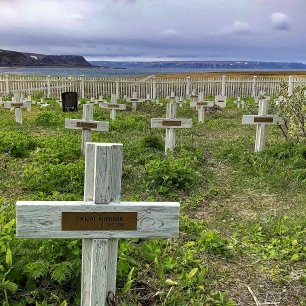 The graveyard at Hamningberg, telling its story. Here lies an unkown sailor.